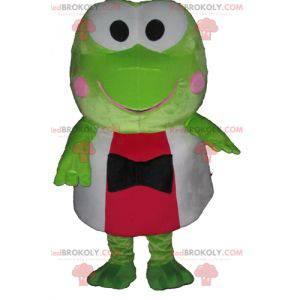 Sehr lustiges grünes Froschmaskottchen in Rot und Weiß -