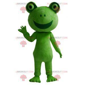 Gigantyczna i uśmiechnięta maskotka zielona żaba -