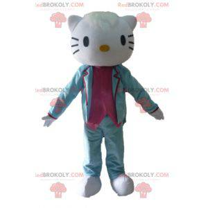 Hello Kitty maskot klædt i blå og lyserød kostume -