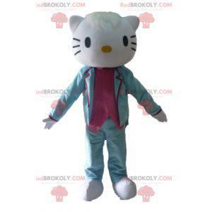 Mascota de Hello Kitty vestida con traje azul y rosa -