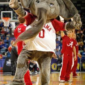 Obří šedý maskot slona s červeno-bílým tričkem - Redbrokoly.com