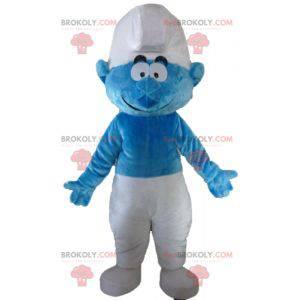 Mascota de Pitufo de dibujos animados azul y blanco -