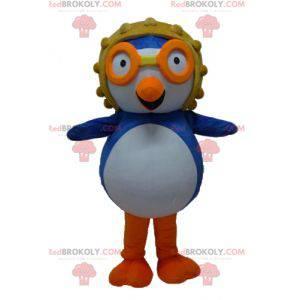 Blå og hvit fuglemaskot med aviatorhjelm - Redbrokoly.com