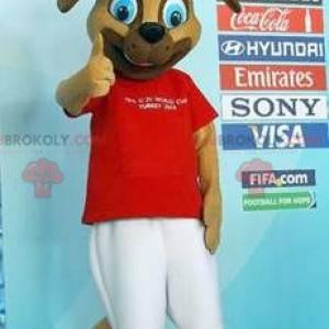 Hnědý pes maskot v červené a bílé oblečení - Redbrokoly.com