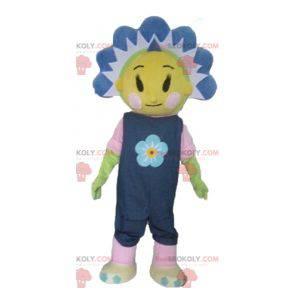 Maskotka ładny żółty i niebieski kwiat ładny i kolorowy -