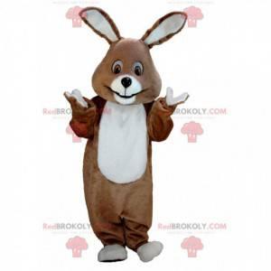 Braunes und weißes Kaninchenmaskottchen alle haarig -