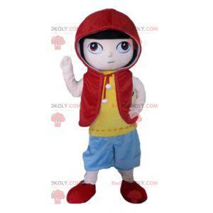 Manga charakter chlapec maskot v barevné oblečení -