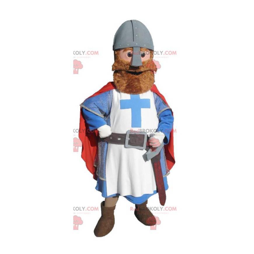 Ridder mascotte gekleed in rood, blauw en wit - Redbrokoly.com