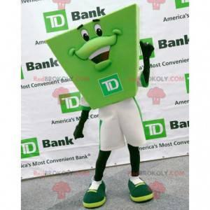 Sehr lächelndes grünes Mannmaskottchen der TD Bank -