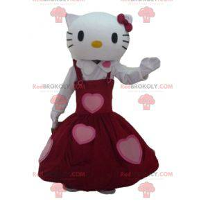 Maskot Hello Kitty oblečený v krásných červených šatech -