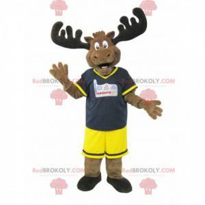 Braunes Karibu-Elch-Maskottchen im schwarz-gelben Outfit -