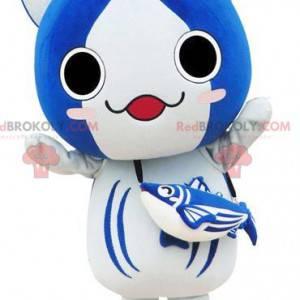 Velká modrá a bílá kočka maskot manga způsobem - Redbrokoly.com