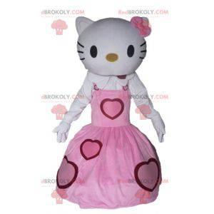 Hallo Kitty Maskottchen in einem rosa Kleid gekleidet -