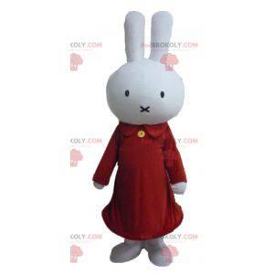 Plüsch weißes Kaninchen Maskottchen in rot gekleidet -