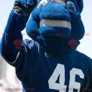Modrý kůň maskot ve sportovním oblečení - Redbrokoly.com