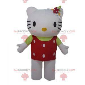 Hello Kitty Maskottchen mit rotem Oberteil und weißen Punkten -