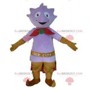 Maskot fialové monstrum s pláštěm a pantoflemi - Redbrokoly.com
