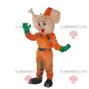 Rosa Elefantenmaskottchen in der orange Kombination -