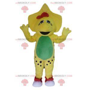 Yellow green and red dinosaur mascot - Redbrokoly.com