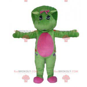 Giant green and pink dinosaur mascot - Redbrokoly.com