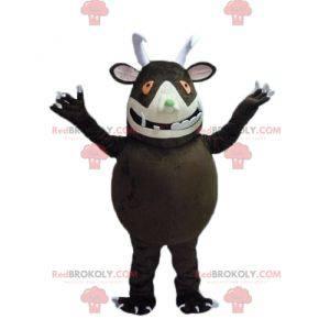 Stor brun monster maskot med store tenner - Redbrokoly.com