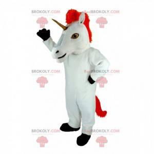 Obří bílý a červený maskot jednorožec - Redbrokoly.com