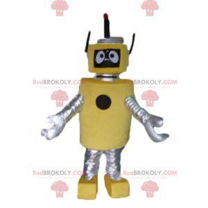 Mascot gran robot amarillo y plateado muy bonito y original. -