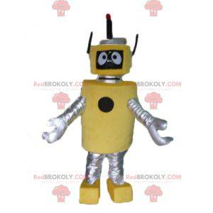 Mascot large yellow and silver robot very beautiful and