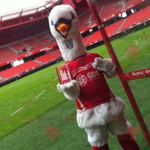 Maskot labuť v červené sportovní oblečení - Redbrokoly.com