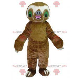 Mascot reusachtige bruine en witte luiaard - Redbrokoly.com