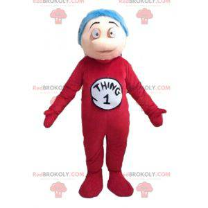 Boy mascot in red jumpsuit and blue hair - Redbrokoly.com