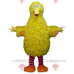 Maskot gul og rosa fugl veldig myk morsom og hårete -