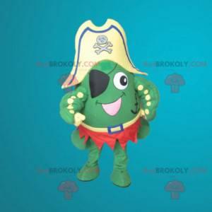 Green frog mascot dressed as a pirate - Redbrokoly.com