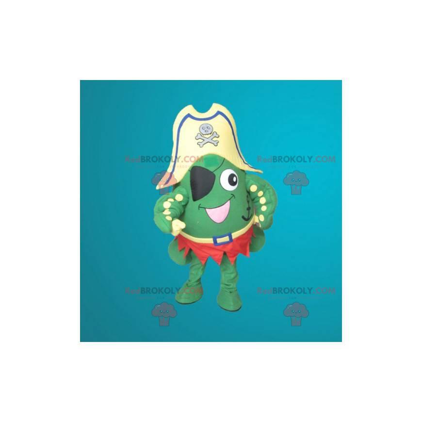 Maskot zelená žába oblečený jako pirát - Redbrokoly.com