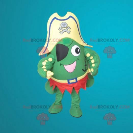 Grønn frosk maskot kledd som en pirat - Redbrokoly.com