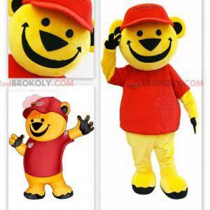Maskotka duży żółty miś ubrany na czerwono - Redbrokoly.com