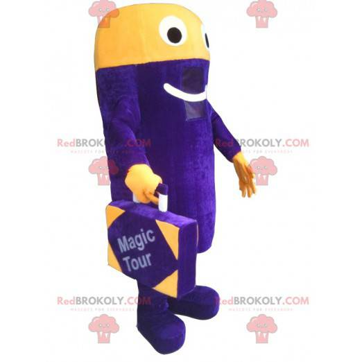 Purple and yellow snowman mascot with a suitcase -