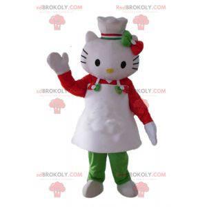 Mascota de Hello Kitty con delantal y gorro de cocinero -
