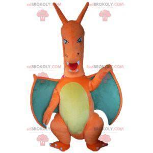 Giant green and yellow orange dragon mascot - Redbrokoly.com