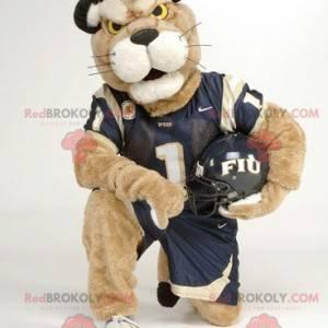 Beige tiger mascot in sportswear - Redbrokoly.com