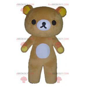Velký maskot žlutého a bílého medvídka - Redbrokoly.com