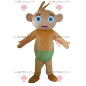 Braunes Affenmaskottchen mit blauen Augen mit grüner Unterhose