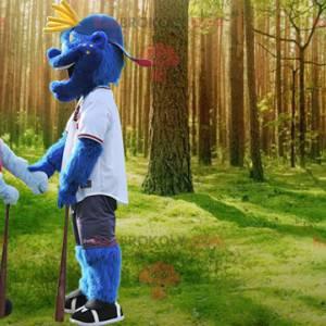 2 blaue Schneemannmaskottchen in Sportbekleidung -