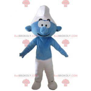 Blaue und weiße Comicfigur des Schlumpfmaskottchens -