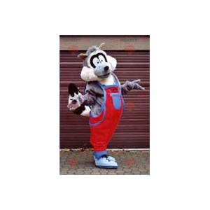 Raccoon mascot in overalls - Redbrokoly.com