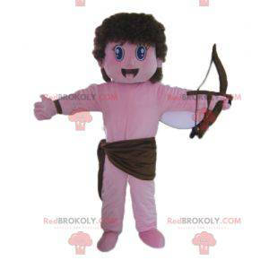 Pink angel cupid mascot with a bow and wings - Redbrokoly.com
