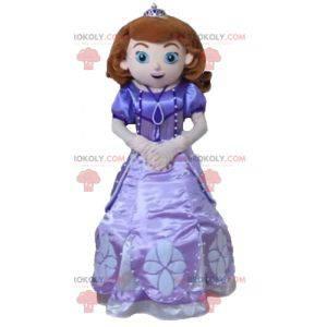 Princesa mascote com um lindo vestido roxo - Redbrokoly.com
