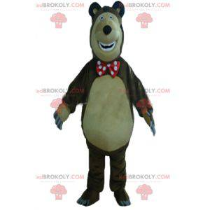 Big brown and beige bear mascot plump and funny - Redbrokoly.com