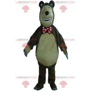 Velký hnědý a béžový medvěd maskot baculatý a zábavný -