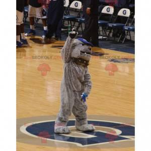 Šedý buldok pes maskot s límcem - Redbrokoly.com